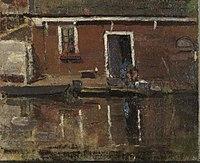 Piet Mondriaan - House façade on the water with woman washing - 0333470 - Kunstmuseum Den Haag.jpg