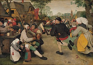 <i>The Peasant Dance</i> oil-on-panel painting by Bruegel