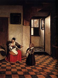Pieter de Hooch - A Woman with a Baby in Her Lap, and a Small Child - WGA11693.jpg