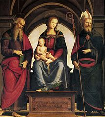 Madonna enthroned with child and Saints John the Evangelist and Augustine