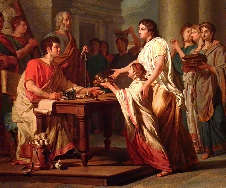 File:Piety and Generosity of Roman Women by Nicolas Guy Brenet French 1785 Oil Detail MH 01.jpg