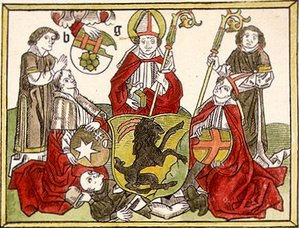 Henry (bishop of Finland) - Bishop Henry surrounded by his successors as depicted in Missale Aboense.