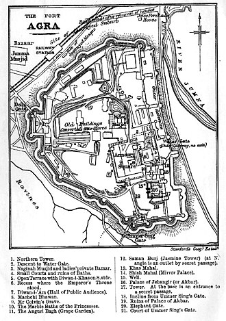 Agra Fort - Plan of the Red Fort, Agra from Murray's Handbooks for Travellers 1911