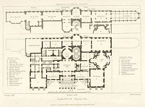 Carlton House - Plan showing the main floor and the suite of reception rooms on the lower ground floor