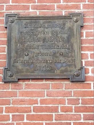 Rudolf von Jhering - Plaquette at the birthplace of Rudolf von Jhering in Aurich (Germany)