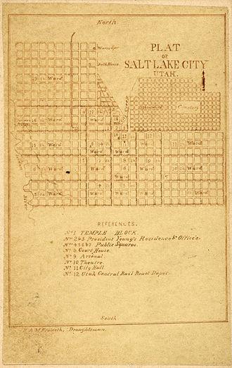 Fused grid - Surveyor's plan of Salt Lake City, circa 1870s - an example of a uniform square grid
