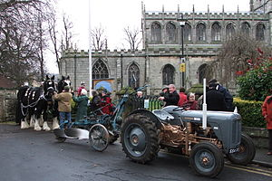 Plough Sunday - A Plough Sunday gathering outside a village church in Tickhill, Yorkshire, England