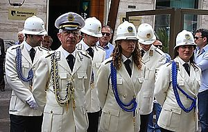 Municipal police (Italy) - Cosenza Polizia municipale in dress uniform.