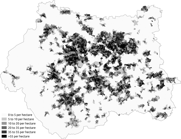 Population density in the 2011 census in West Yorkshire. Population Density West Yorkshire 2011 Census.png