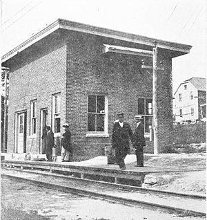 Portland–Lewiston Interurban - The combined substation and passenger station at Gray in 1915