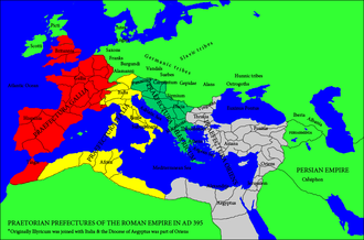Praetorian prefecture of the East - Praetorian Prefectures of the Roman Empire (395). The Praetorian Prefecture of the East is in grey.