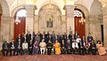 Pranab Mukherjee during the Conference of Chairmen of Boards of Governors and the Directors of Indian Institutes of Technology, in New Delhi. The Prime Minister, Shri Narendra Modi.jpg