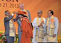 Pranab Mukherjee presenting a Gold Medal to one of the graduating students, at the 5th convocation of National Institute of Technology, at Agartala, in Tripura. The Governor, Tripura.jpg