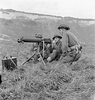 Vickers machine gun - Soldiers of Princess Patricia's Canadian Light Infantry firing a Vickers machine gun during a training exercise, Eastbourne, England, 3 December 1942