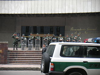 National Police of Colombia - Colombian National Policemen guarding the Colombian Inspector General's building.