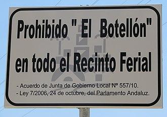Botellón - Sign prohibiting botellón in Cordoba, Spain.