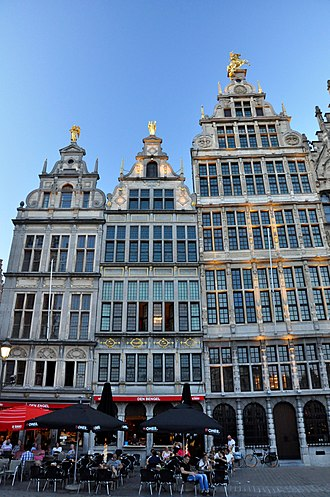 Antwerp Jazz Club (AJC) - The clubhouse of AJC is located on the second floor (where windows can be seen opened) of the building in the centre (Ambachtshuis de Mouwe), a protected monument. Picture taken on 13 September 2016, fifteen minutes before the 8PM Tuesday-session of the jazz club.