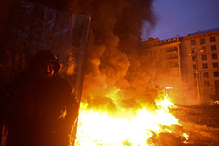 Protester seen against background of the massive fire set by protesters to prevent internal forces from crossing the barricade line. Kyiv, Ukraine. Jan 22, 2014.jpg