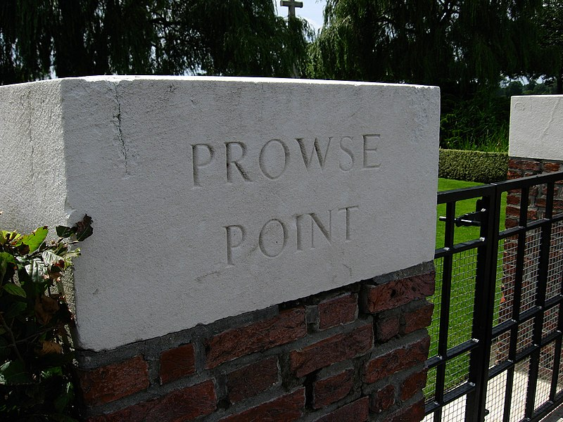 Prowse Point Military cemetery entrance stone