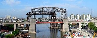 Dock Sud - The Nicolás Avellaneda Bridge, connecting Dock Sud (left) to Buenos Aires