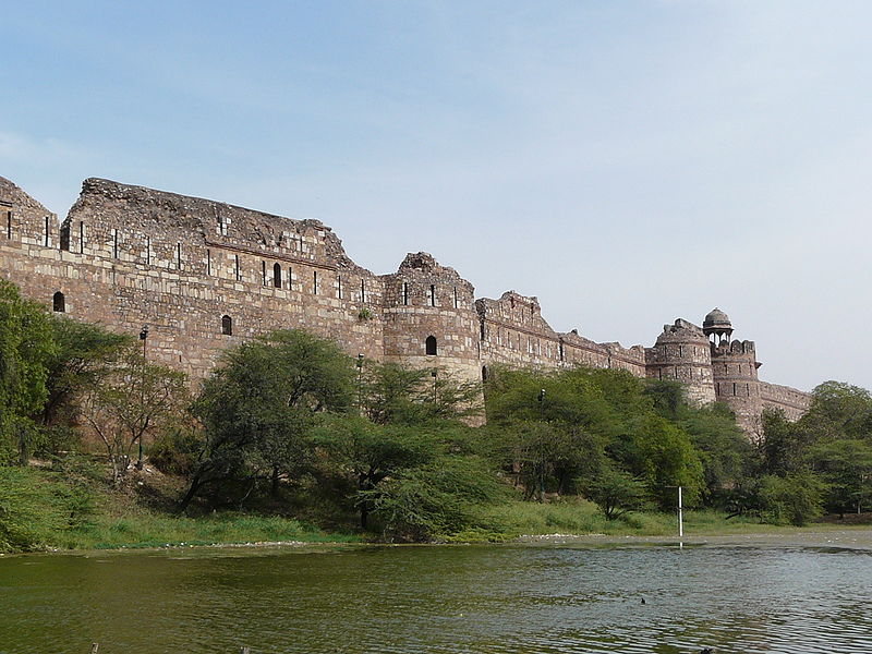 Purana Qila or Old Fort Ramparts, and Lake, Delhi - Purana Qila