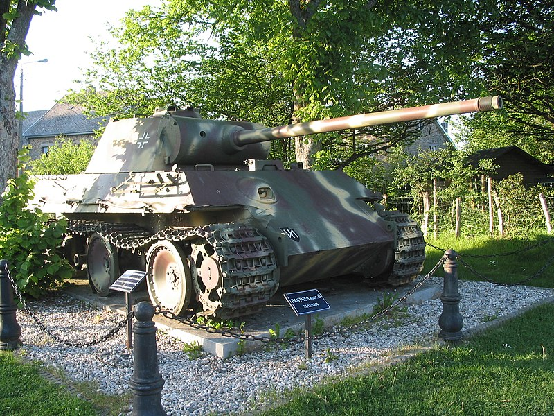 "Manhay, Belgium: German ""Panther tank"" — Battle of the Bulge vestige (1944) in the village Grandmenil."