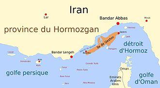 Qeshm - Map of Qeshm Island and surroundings, in French