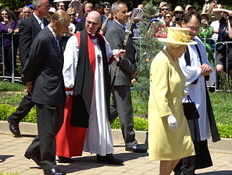 Anglican Diocese of Canberra and Goulburn - Elizabeth II talking with Paul Black and Prince Philip, Duke of Edinburgh with Stuart Robinson at St John the Baptist Church, Reid on 23 October 2011