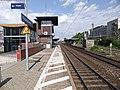Rüsselsheimer Bahnhof- auf Bahnsteig zu Gleis 1- Richtung Frankfurt am Main 28.5.2012.JPG