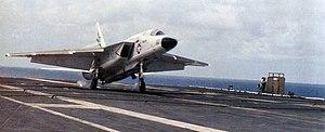 RA-5C RVAH-7 landing on USS Ranger (CV-61) 1979.jpg