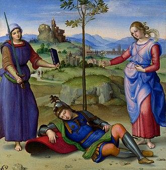 Vision of a Knight (Raphael) - Image: RAFAEL Sueño del Caballero (National Gallery de Londres, 1504. Óleo sobre tabla, 17 x 17 cm)