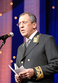 RIAN archive 123113 S.Lavrov congratulates workers in the diplomatic service.jpg