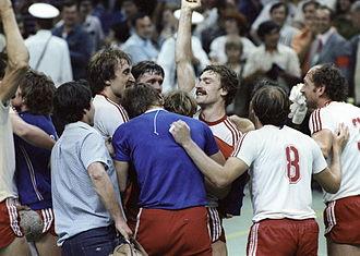 Handball at the 1980 Summer Olympics - Soviet Union men's team celebrating their victory over Yugoslavia. RIAN photo.