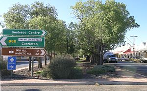 R. M. Williams - RM Williams Way road sign at Orroroo.