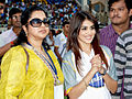 Radhika with Genelia at CCL match.jpg