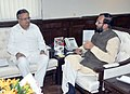 Raman Singh meeting the Minister of State for Information and Broadcasting (Independent Charge), Environment, Forest and Climate Change (Independent Charge) and Parliamentary Affairs, Shri Prakash Javadekar, in New Delhi.jpg