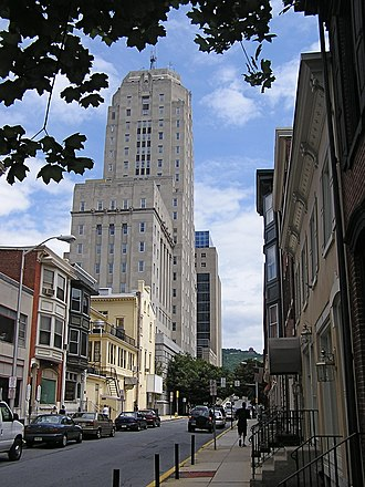 Reading, Pennsylvania - The 500-block of Court Street in Downtown Reading, with Berks County courthouse on the left.