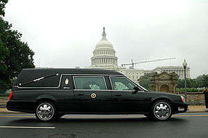 Hearse - A modern-day Cadillac hearse; this car was used to transport the body of former US President Ronald Reagan during his state funeral