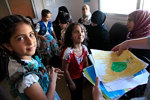 Norwegian Centre for Violence and Traumatic Stress Studies - Syrian refugee children in 2013. NKVTS conducts extensive research on forced migration and refugee health; many refugees develop symptoms of post-traumatic stress disorder or other psychological disorders