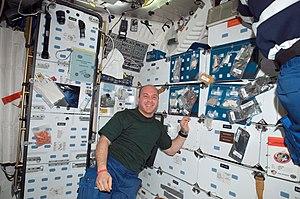 Garrett Reisman - Garrett Reisman on the mid-deck of Space Shuttle Endeavour during STS-123.