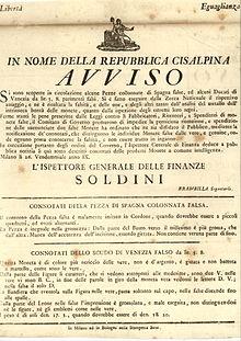 Avviso della Repubblica Cisalpina su false monete (columnarios e scudi veneti) circolanti nella repubblica.