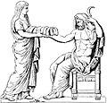 Rhéa présentant une pierre emmaillotée à Cronos dessin du bas-relief d'un autel romain.jpg