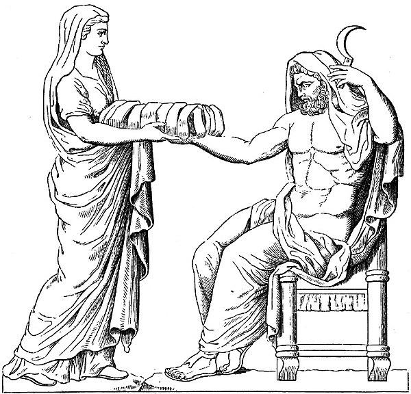 Archivo:Rhéa présentant une pierre emmaillotée à Cronos dessin du bas-relief d'un autel romain.jpg
