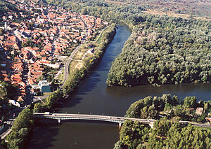 Tokaj wine region - River Tisza and Bodrog at Tokaj from above