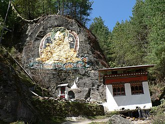 Bhutanese art - Rock picture of Padmasambhava north of Thimphu