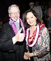 Roger Ebert and Nancy Kwan at the Hawaii International Film Festival in October 2010.jpg