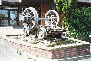 Geilenkirchen station - Rollbock on the track of the Geilenkirchen District Railway, used for the transport of wagons of the DB on the District Railway tracks