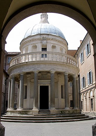 San Pietro in Montorio - The Tempietto within a narrow courtyard.