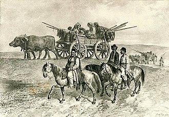Romani diaspora - A Romani family travelling (1837 print)