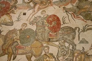 Roman cavalry - Roman cavalry from a mosaic of the Villa Romana del Casale, Sicily, 4th century AD